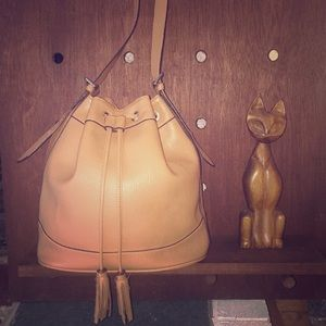 Great cognac vegan leather bucket bag by Old Navy